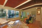 "mid-century modern living room staged like ""mad men"""