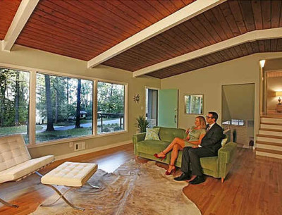 "mid-century modern living room staged like ""mad men"""