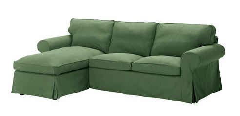 ikea ektorp sofa  chaise  green hooked  houses