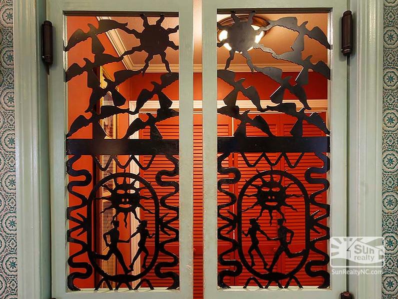 close up of swinging kitchen doors