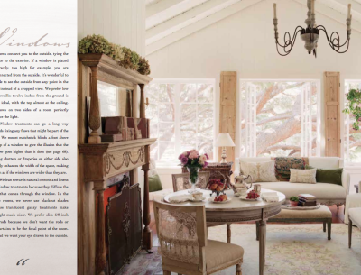page from the book Patina Style of romantic bedroom with fireplace