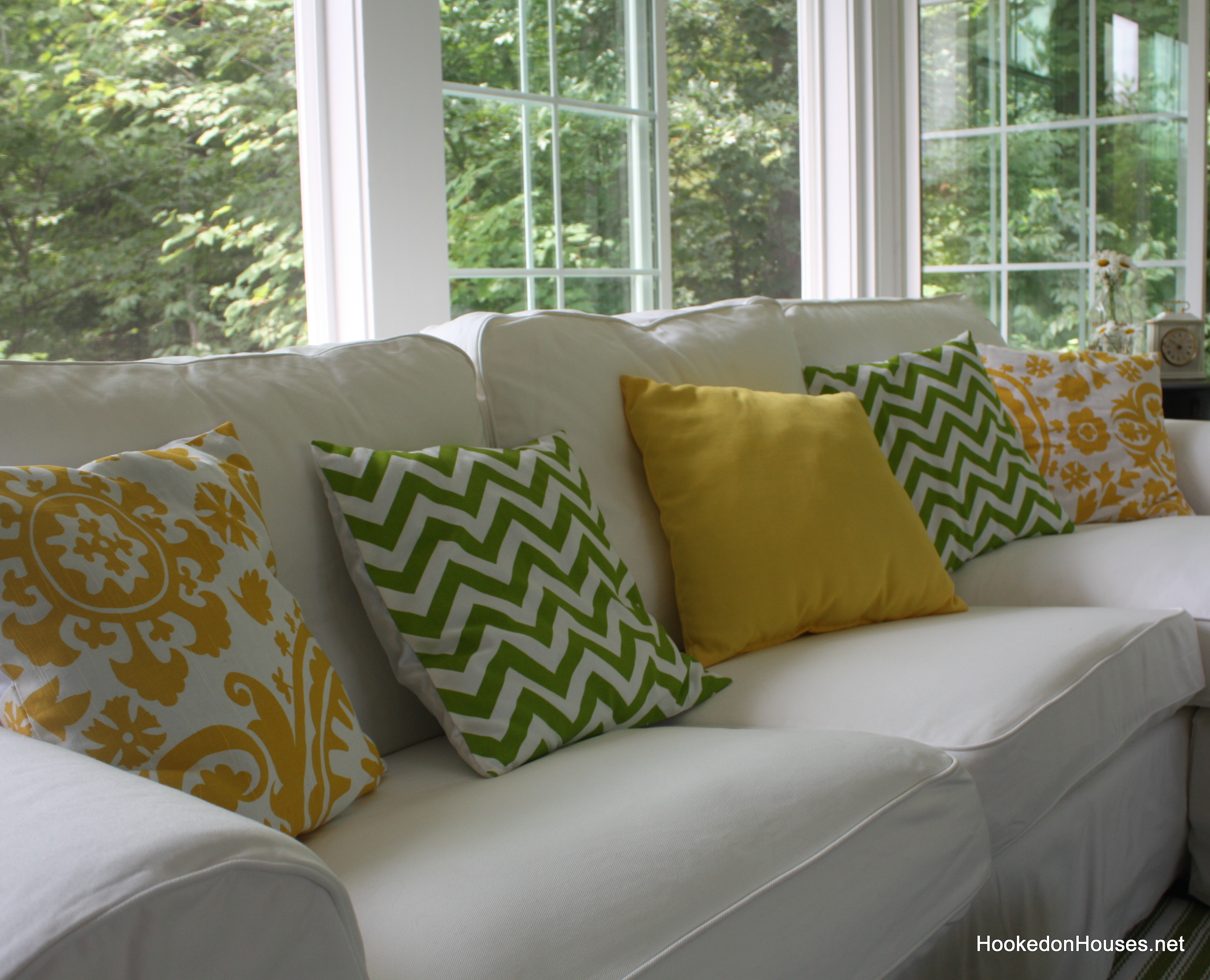 Close Up Of New Pillows On Sofa 7