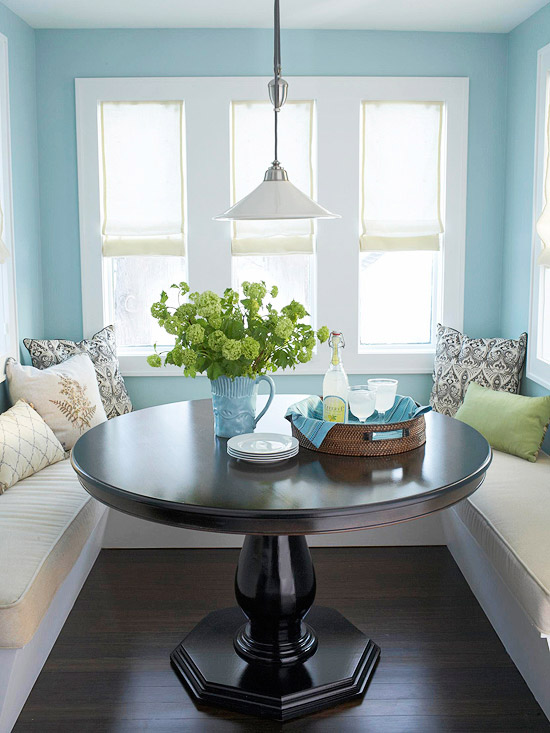 banquette seating in kitchen nook