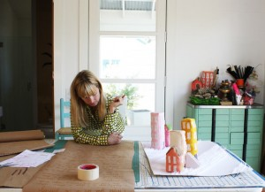 Artist Elizabeth Chapin creating at home