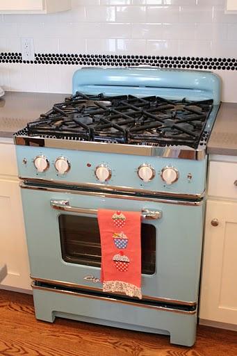 retro blue stove in kitchen