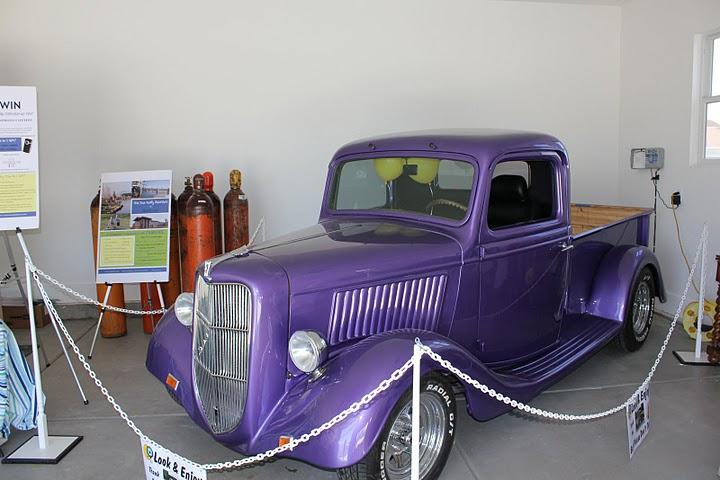 Carl\'s purple vintage pickup truck in garage