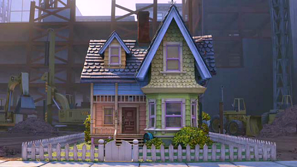 Pixar's Up house with picket fence