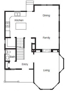 Up house floor plan by Bangerter Blders-first floor