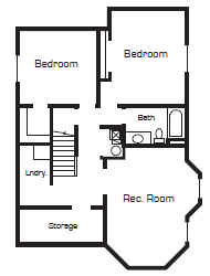 Up house floor plan by Bangerter Blders-lower level