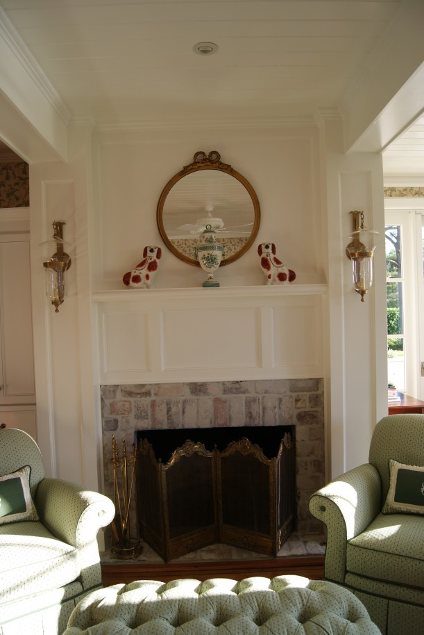 closeup of fireplace