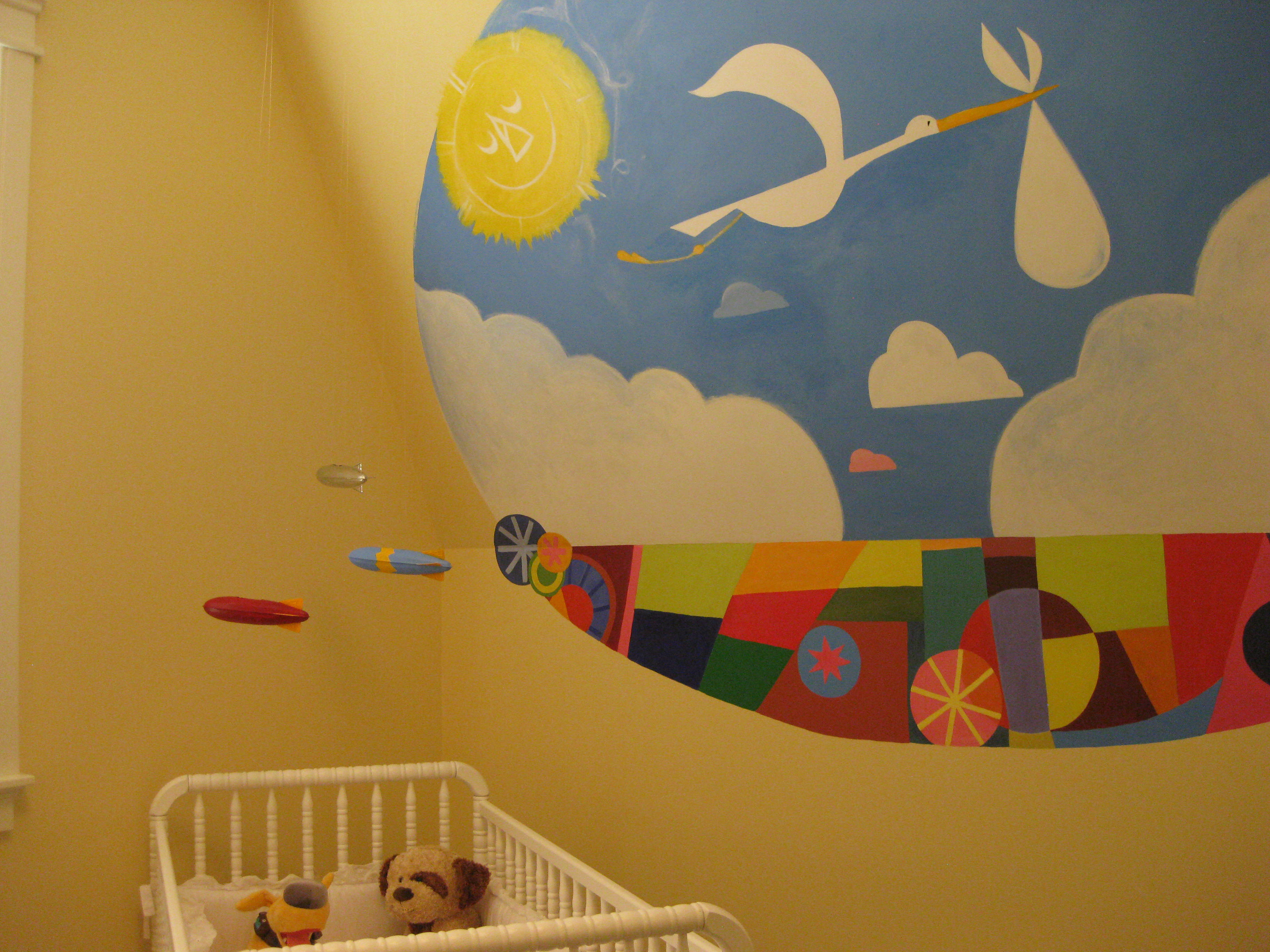 nursery with mural - Hooked on Houses
