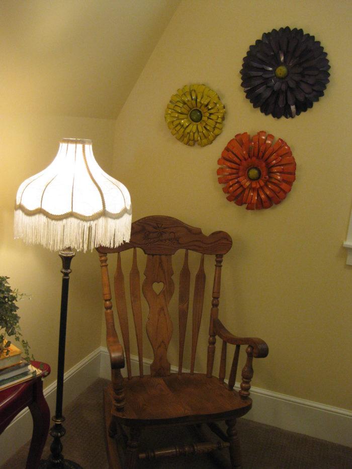 rocking chair in corner of bedroom