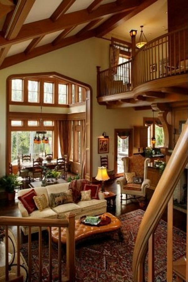 Andie MacDowell's House in two story living room Asheville NC