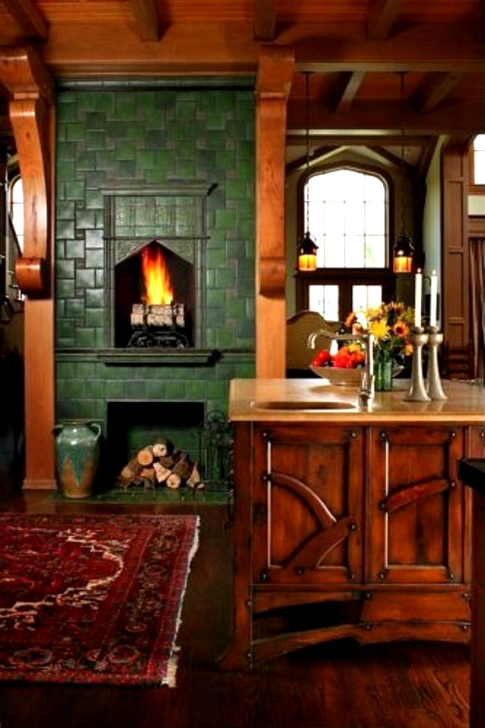 Andie MacDowell's Tudor Rose Kitchen with Green Tile