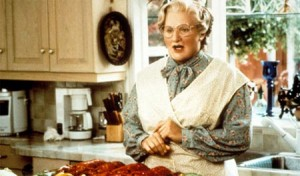 Mrs. Doubtfire in front of kitchen window