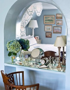 bedroom arched mirror dressing table