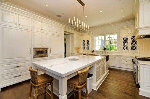 white kitchen marble island