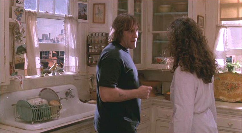 Gerard Depardieu in Green Card movie kitchen