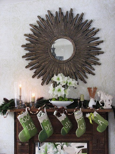 mantel with green stockings and mirror