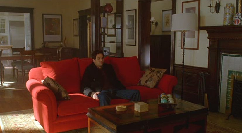 A person sitting in a living room on a red sofa