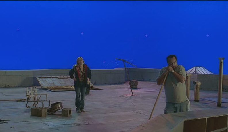 blue screen used for rooftop scenes in movie Just Like Heaven