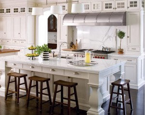white kitchen marble island Calfinder