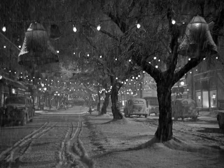 Bedford Falls in the snow with twinkle lights