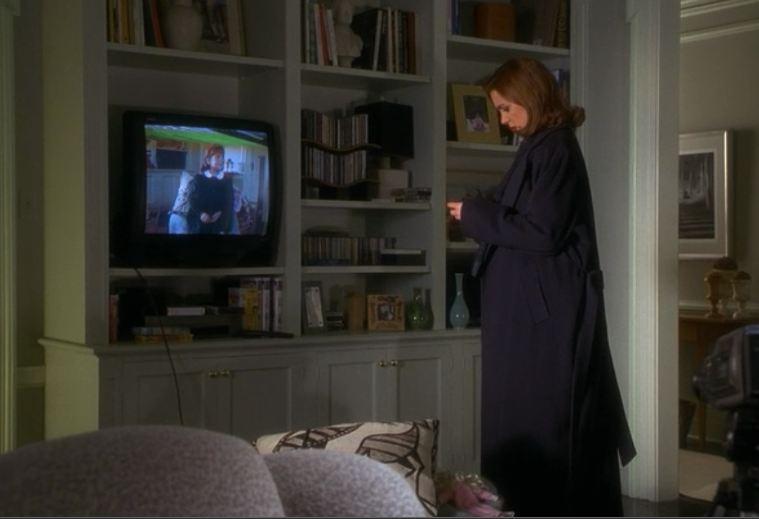 Elizabeth Perkins standing in front of TV in apartment