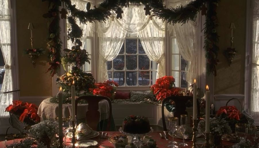 Bay window decorated for Christmas in the dining room
