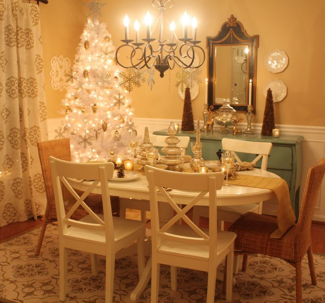 Wideshot Of Dining Room Decorated For Christmas