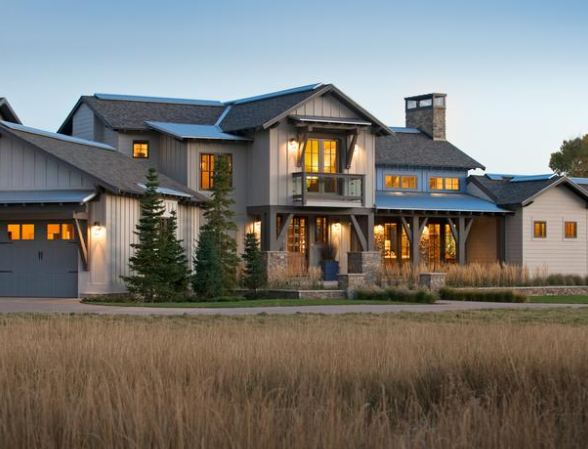 front exterior of modern rustic ranch in Utah