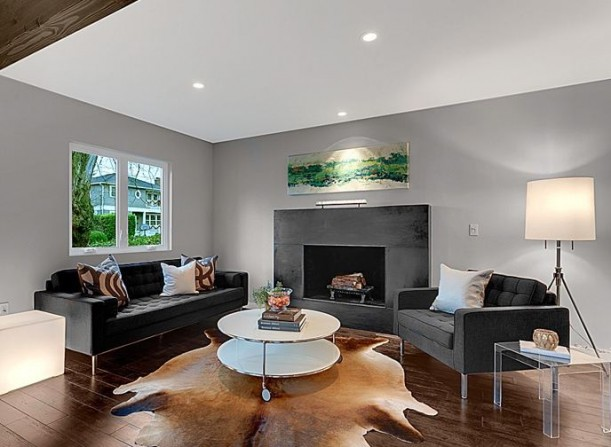 A contemporary living room with fireplace