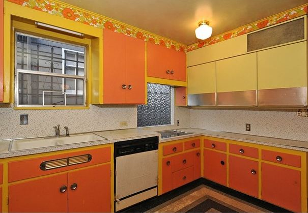 mid century kitchen phone orange flowered kitchen before renovation hooked on houses