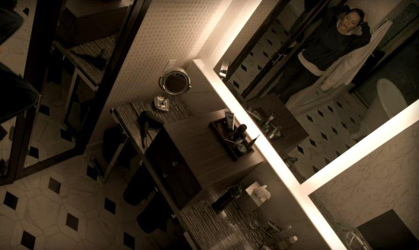 overhead shot of bathroom at Derek\'s house