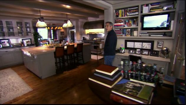 screenshot of George Clooney giving tour of his house