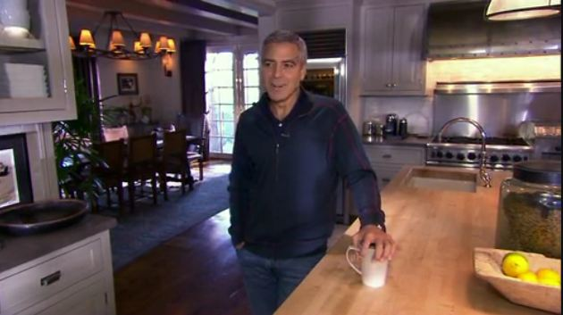 screenshot of George Clooney giving tour of his kitchen
