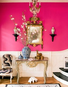 hot pink foyer House Beautiful