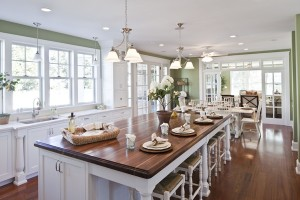 kitchen painted Sherwin Williams Sprout-wood island