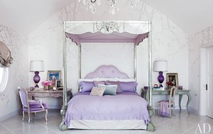 purple bedroom in Osbournes' house