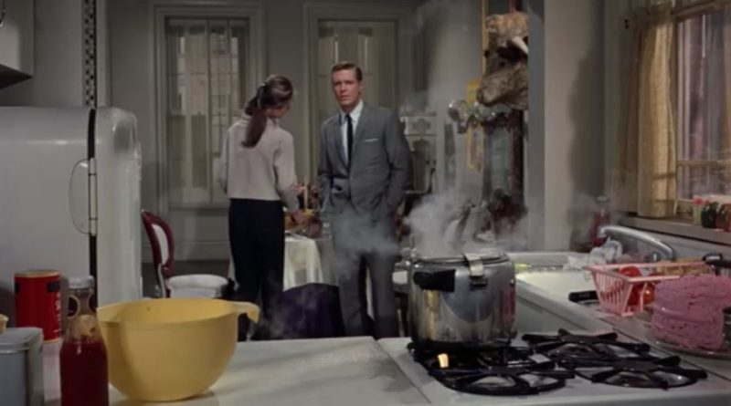 pot steaming on stove in Holly Golightly\'s apartment