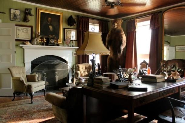 study with stuffed bear in corner