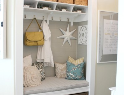 Entryway Closet Mudroom makeover after-thehouseofsmiths.com