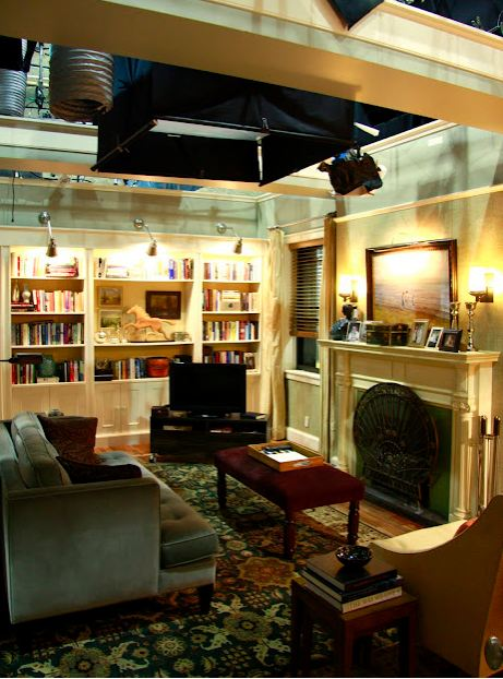 Good wife living room set via stephen saint onge hooked for Tv set design living room