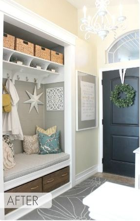 after coat closet was turned into a mudroom nook in entry hall