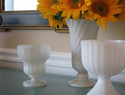 flowrers in milk glass