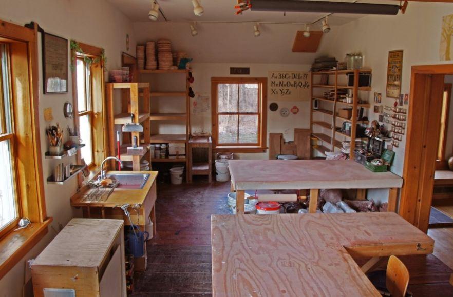 the artist\'s light filled studio