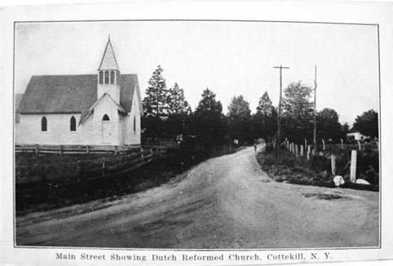 A vintage photo of the old country church in New York