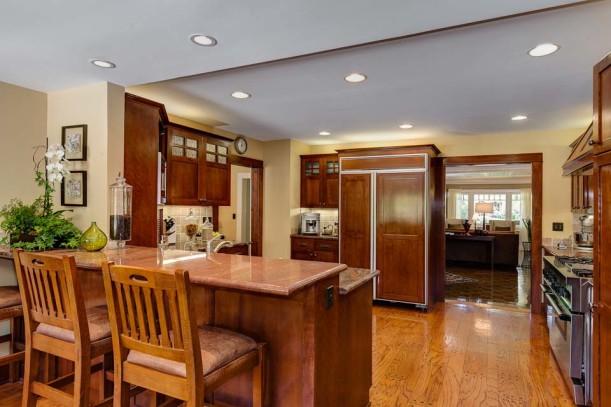 Craftsman kitchen with dark wood cabinets