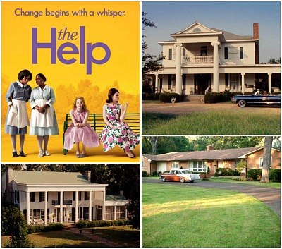 collage of houses from The Help movie with movie poster inset