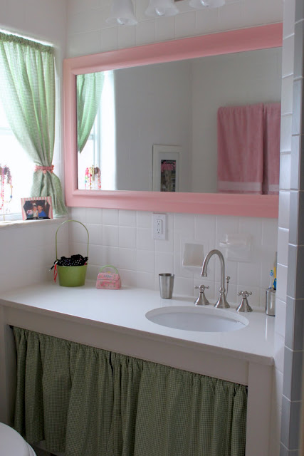 pink and green girls bath after redecorating